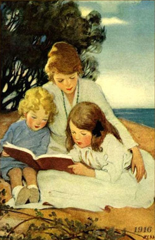 Stay at home mom shaming NEEDS TO STOP. Painting: Jessie Willcox Smith Mother and Children Reading
